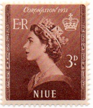 Niue Postage Stamp Single 1953 Queen Elizabeth II Coronation Issue 3 D Scott #104