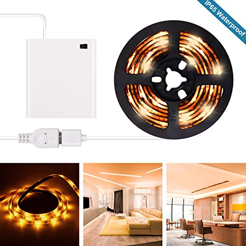 Yellow LED Strip Lights - 2019 New Design Battery Powered Yellow LED Light Strip Kit with 6.6FT 2M SMD 3528 IP65 Waterproof Super Bright LED Tape Light, Battery Case