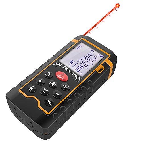 DBPOWER Digital Laser Measure 197FT/ 60M , Laser Distance Meter with Backlit LCD Screen, Single-distance Measurement/ Continuous Measurement/ Area/ Pythagorean Modes