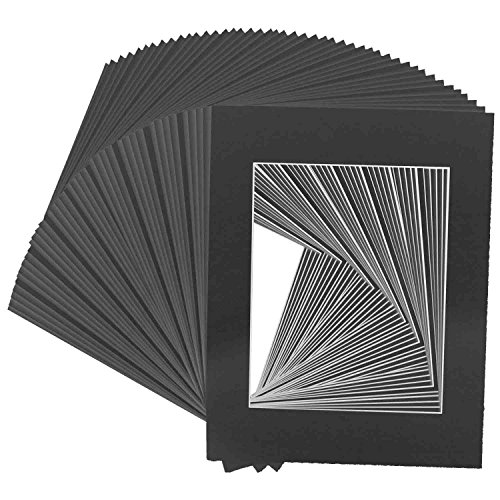 Golden State Art Pack of 50, Acid-Free Black Pre-Cut 11x14 Picture Mat for 8x10 Photo with White Core Bevel Cut Frame Mattes (Studio 8 Paper)