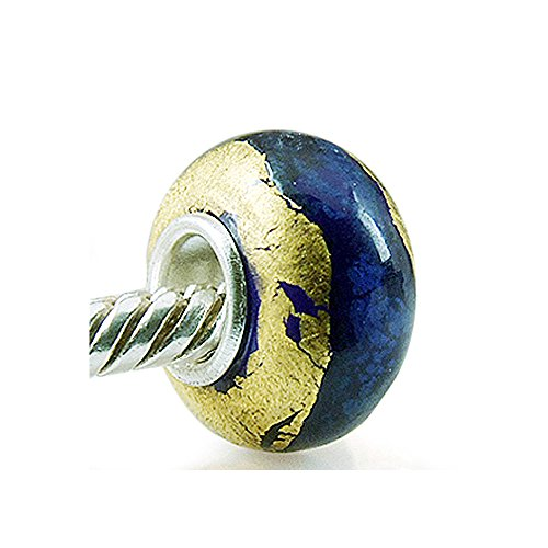 The Kiss Blue Gold Foil Murano Glass Bead 925 Sterling Silver Solid Core Charm Fits European Bracelet