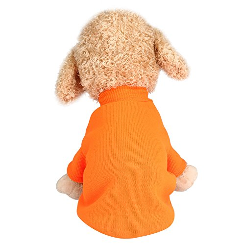 Farjing Pet Dog Sweater,Warm Puppy Sweater Fleece Sweater Clothes (2XL,Orange ()