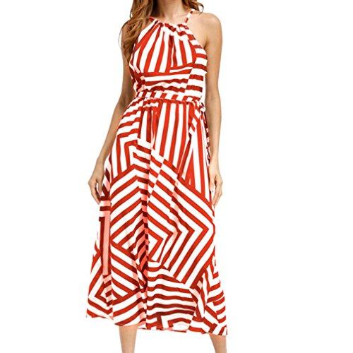 (GBSELL Women's Sexy Summer Stripe Halter Boho Evening Party Beach Long Maxi Dress (Orange, L))