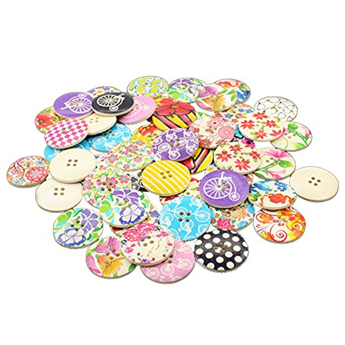 25pcs 4 Holes Floral Pattern Wood Sewing Buttons 30mm (1-1/6 Inch) (Floral Fabric Button)