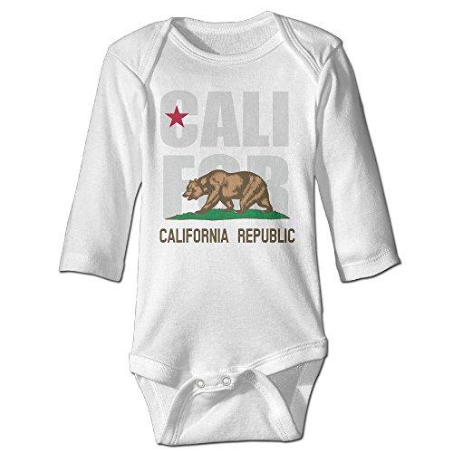 Price comparison product image Boys California State Flag Long Sleeve 100% Cotton Romper Jumpsuit Romper Bodysuit White 12 Months
