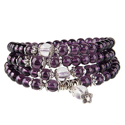Beauty7 108 6mm Buddhist Strand Simulated Amethyst Prayer Meditation Beads Mala Wrap Bracelet Bangle Cuff (Beads Amethyst Prayer)
