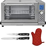 Cuisinart TOB-135 Deluxe Convection Toaster Oven Broiler, Brushed Stainless Refurbished with 2-Piece Knife Set and Oven Mitts