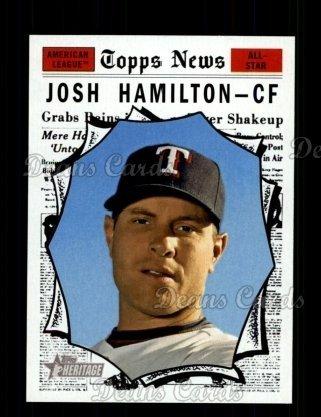 Rangers Texas Topps Baseball Cards (2010 Topps Heritage # 489 All-Star Josh Hamilton Texas Rangers (Baseball Card) Dean's Cards 8 - NM/MT Rangers)