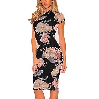 f47e7c823fe Amazon.com  Plus Size Bandage Dress New Sexy Party Dress Black Floral Print  Knee Length Pencil Midi Dress Sexy Bodycon Women Dress  Clothing