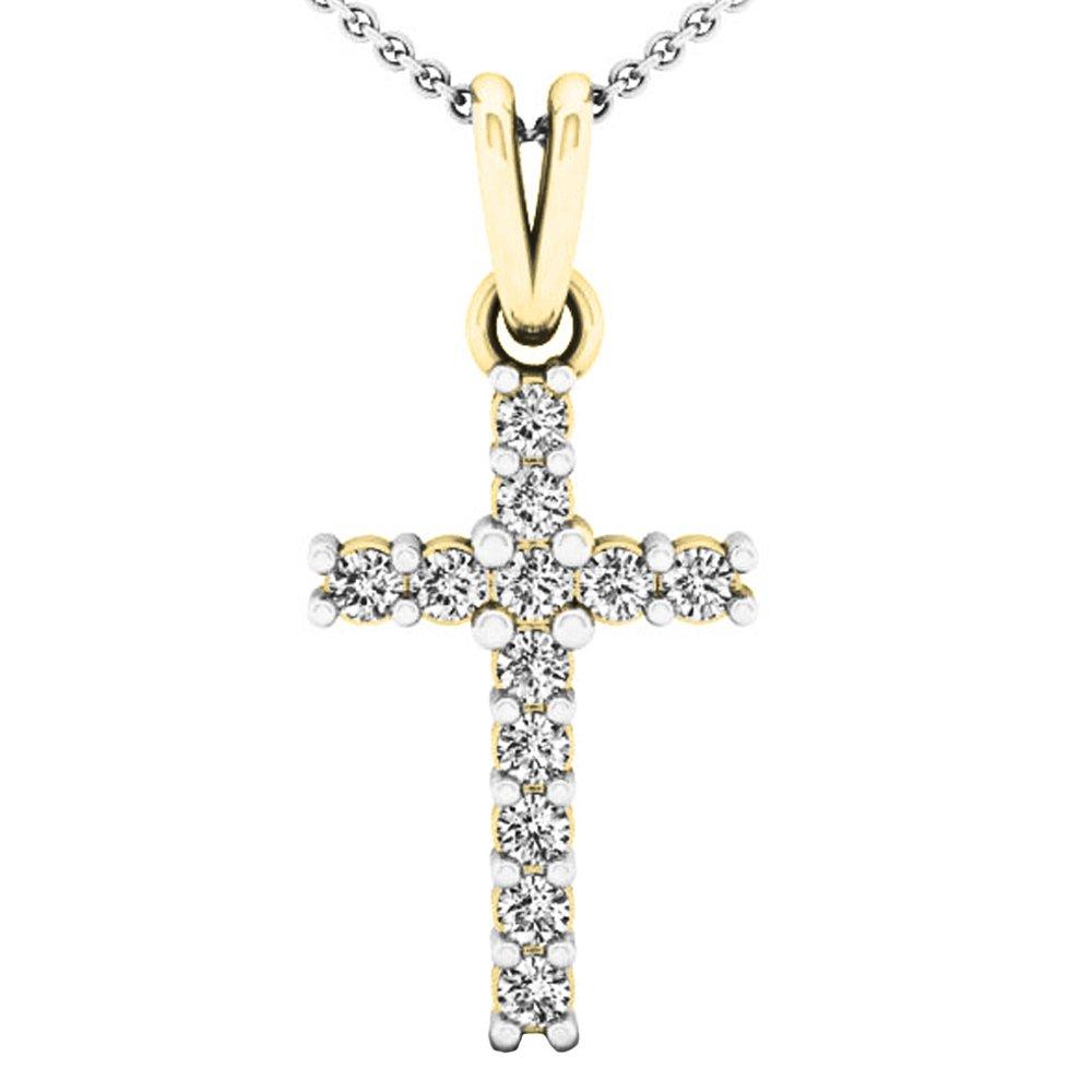 0.15 Carat (ctw) 14K Yellow Gold Round White Diamond Ladies Cross Pendant (Silver Chain Included)