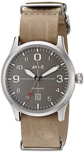 AVI-8 Men's 'Flyboy' Japanese Automatic Stainless Steel and Beige Leather Aviator Watch (Model: AV-4021-0A)