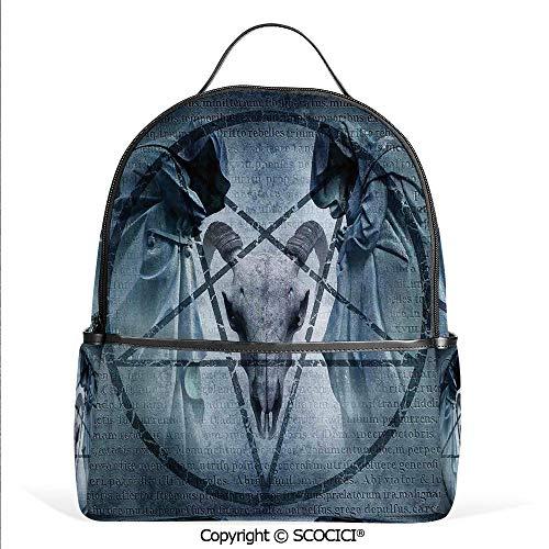 Casual Fashion Backpack Artwork with Pentagram Icon Goat Skull Devil Dream Hoody Figure Exorcist Image,Blue,Mini Daypack for Women & Girls