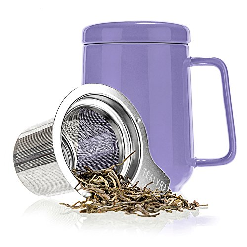 Tealyra - Peak Ceramic Purple Tea Cup Infuser - 19-ounce - Large Mug with Lid and Stainless Steel Infuser - Tea-For-One Perfect Set for Office and Home Uses - 580 milliliter (How Do You Infuse Tea)