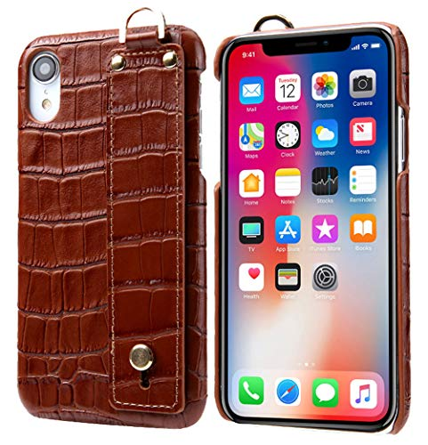 iPhone XR Leather Case, Reginn Slim Fit Phone Cover with a Hand Strap Holder [Selfie Case] Crocodile Pattern Genuine Leather Case for iPhone XR (Brown)