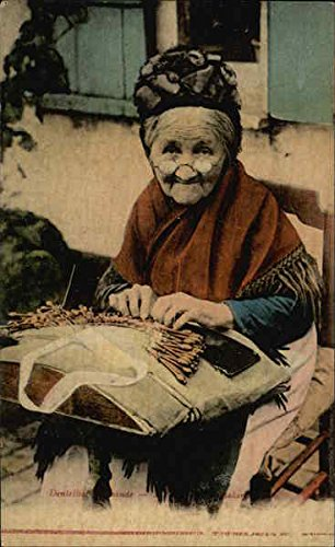 Old Woman Making Lace Women Original Vintage Postcard by CardCow Vintage Postcards