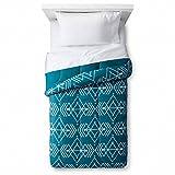 Room Essentials Twin XL Teal Blue Geometric Diamond Reversible Comforter