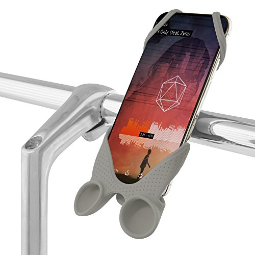 h Integrated Sound Amplifier, Bicycle Handlebar Stroller Cell Phone Smartphone Holder for iPhone XR XS Max X 8 7 Plus Samsung Galaxy S9 S8 Note 9, Bike Tie Speaker Series - Gray ()