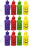 Smiley Face Emoji Water Sports Bottles for Kids, Pack of 12, 7.5 inches, Great Summer Beach Accessory, Neon Colors By 4E's Novelty
