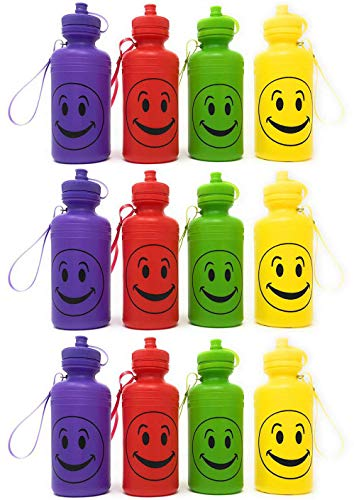 Price comparison product image Smiley Face Emoji Water Sports Bottles for Kids, Pack of 12, 7.5 inches, Great Summer Beach Accessory, Neon Colors By 4E's Novelty