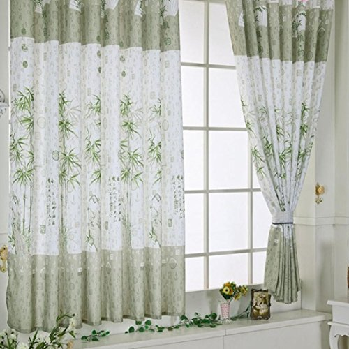 Koolee Bamboo Chinese Style Curtain Calico Finished Product Cloth Window Curtain