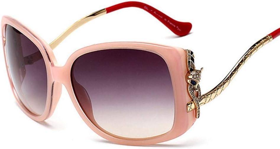 メンズサングラス偏光サングラス、女性用ファッションハイエンドフォックスヘッドサングラス 女性の日曜大工 (色 : ピンク/赤) ピンク/赤
