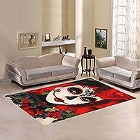 Unique Debora Custom Multicolor Rectangle Area Rug Floor Rug Carpets Home Decorate Floor with Sugar Skull Flower Day Of The Dead