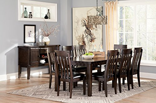 Handigan Casual Dark Brown Color Dining Room Set, Rectangular Table, 8 Chairs
