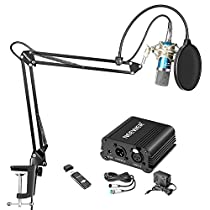 Neewer Home Studio Condenser Mic Kit: NW-700 Mic(Blue), Shock Mount(Silver), NW-35 Scissor Arm Stand with Mounting Clamp, 48V Phantom Power Supply, XLR Cable, PopFilter and USB Stereo Sound Adapter