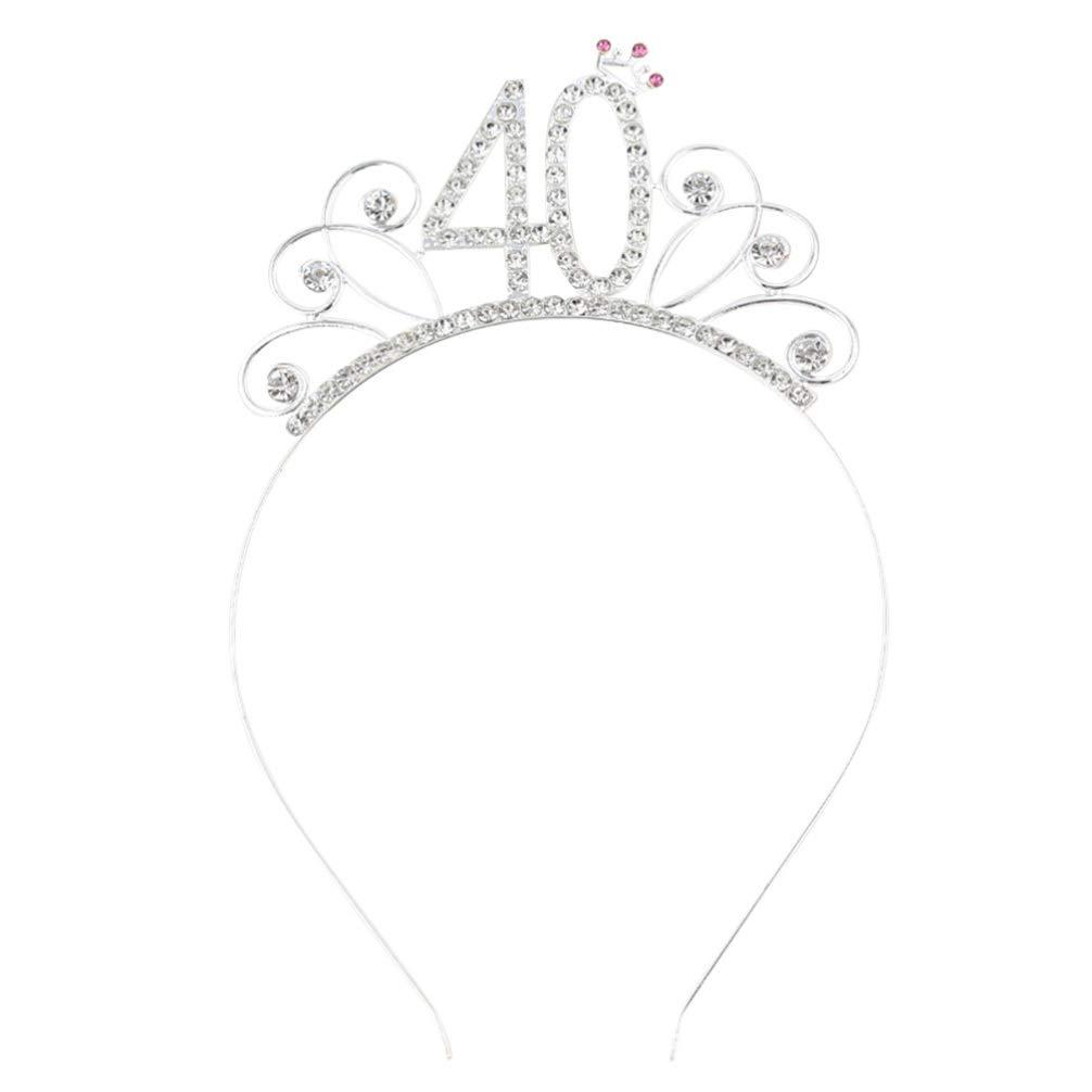 Geburtstag Tiara Stirnband Kristall Strass Frauen 40 Geburtstag Krone f/ür Geburtstagsfeier Haarschmuck Silber Amosfun 40