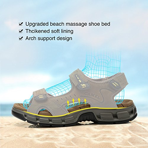 for Walking Outdoor Hiking Mens Summer Casual Coffee Fisherman Beach Sandals Strap Sandals Camel Leather Toe z7HRUq
