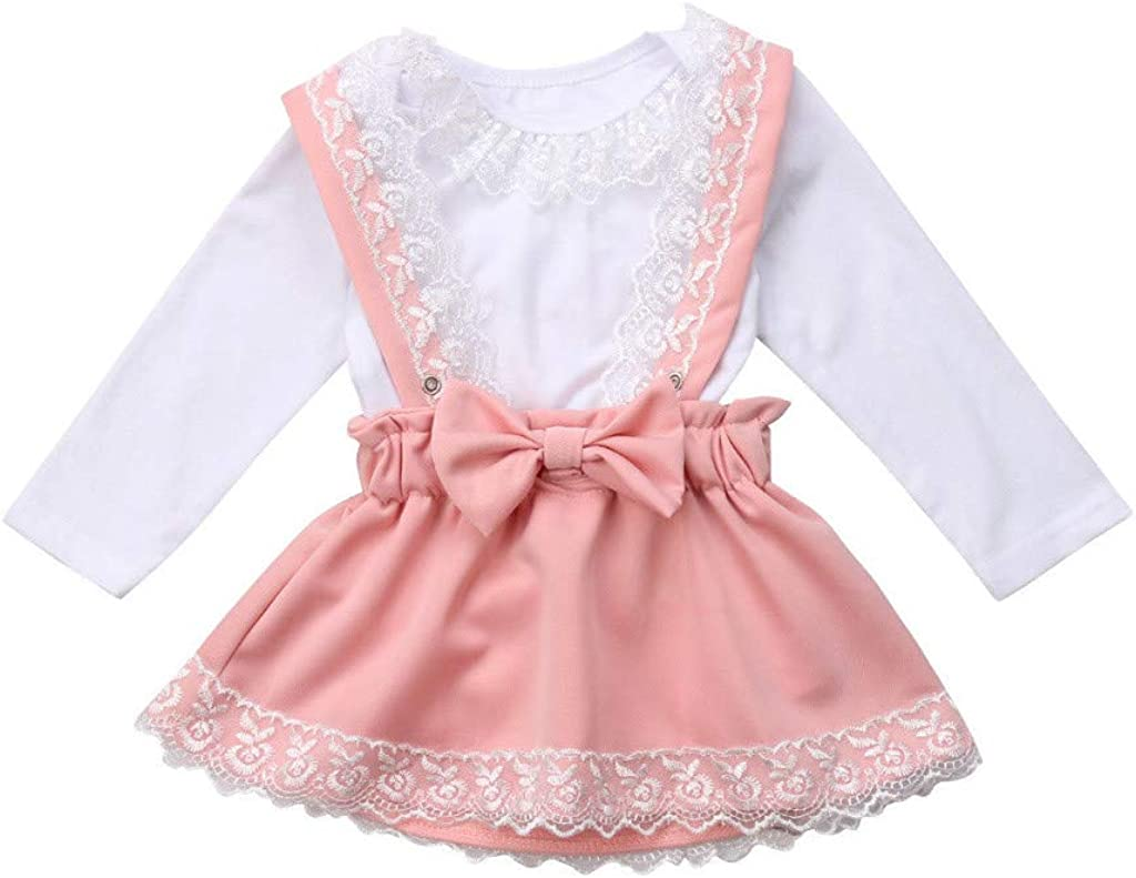Baby Toddler Girls Skirts Outfits for 1-5 Years Old Kids Sleeveless Bow Lace Vest Tops Solid Ruffles Skirts Set