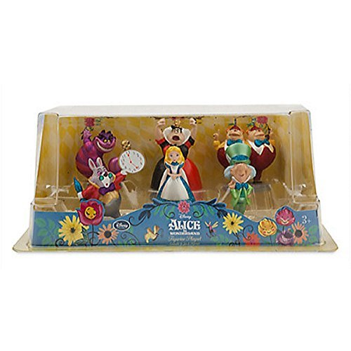 Disney Alice in Wonderland Figure Play Set 6 pieces w/Glitter accents Exclusive -