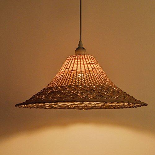 (Waineg Bamboo weaving Straw Hat Lamp Shades Pendant Lamp Hand Knit Creative Single Head Rattan Chandelier E27 Vintage Bar Cafe Ceiling Decoration Pendant Light Fixtures 110V 220V)