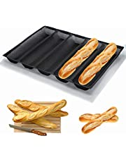 Baguette Mold Pan Silicone Non-Stick Baking Tray Perforated Fench Bread Pan Forms, Hot Dog Molds, Baking Liners Mat Bread Mould Stick Baking Pan