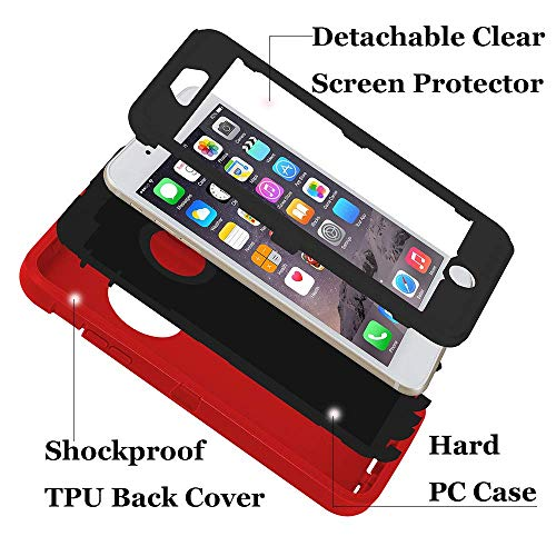 smartelf Case for iPhone 6 Plus/6s Plus Heavy Duty With Built-in Screen Protector Shockproof Dust Drop Proof Protective Cover Hard Shell for Apple iPhone 6+/6s+ 5.5 inch-Red/Black