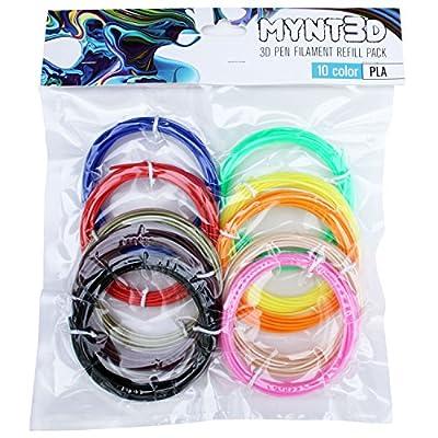 MYNT3D PLA 3D Pen Filament Refill Pack (10 Color, 3m Each)
