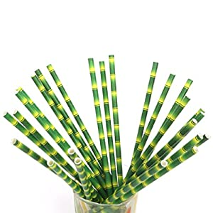 Ponce Fashion 25Pcs Drinking Bamboo Paper Straws Wedding Birthday Decoration Baby Shower Event Party Supplies Green Cup Bamboos Straw