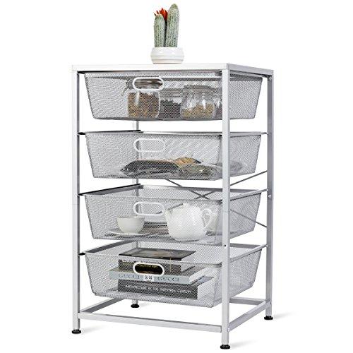 - Giantex Mesh Storage Basket 4 Drawer Multifunction Utility Heavy Duty Storage Organizer, for Kitchen and Bathroom Organization