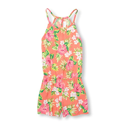 The Children's Place Big Girls' Sleeveless Printed Romper, Jamaican Sunrise, S (5/6) by The Children's Place
