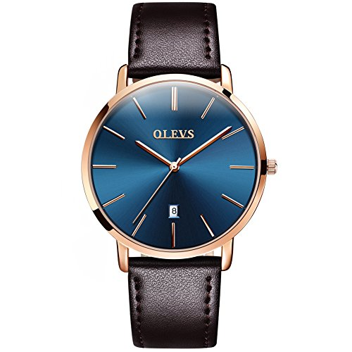 Watch Wrist Gift Mens - Mens Ultra Thin Minimalist Watches on Sale, Business Gift Casual Wrist Watch with Brown Leather Strap Blue Dial Watches, Date Water Resistance Watch, 2019 Brand Fashion Cheap Valentines Gift for His
