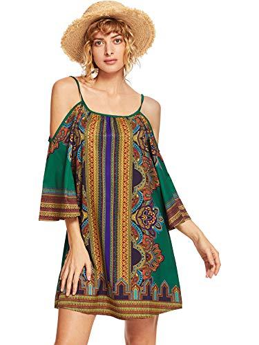 Milumia Women Cold Shoulder Paisley Print Long Sleeve Summer Boho Tunic Dress Multicolor-9 L