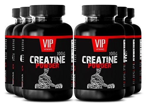 Vegan Creatine Powder - CREATINE MONOHYDRATE POWDER 100g - Vegetarian Muscle Builder (6 Bottles) -