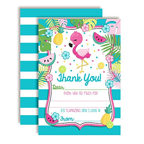 Tropical Pink Flamingo With Fruit Thank You Notes, Ten 4