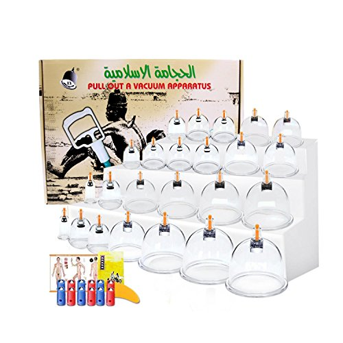 Cupping Therapy SetsHijama Cupping Vacuum Suction 24 Cups Sets for Cellulite Cupping Massage Back Pain Relief Chinese Cupping Therapy Pump Hijama