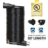 30 ft indoor extension cord - eTopLighting 30ft Power Extension Cord Cable Outlet Saver, UL Listed, Indoor/Outdoor, 18AWG [0.824mm²] 300V, APL1745
