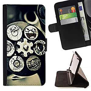 Momo Phone Case / Flip Funda de Cuero Case Cover - Mecanismo de Tecnología Arte Funny Smiley - Huawei Ascend P8 Lite (Not for Normal P8)