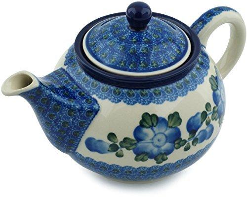 Polish Pottery Tea or Coffee Pot 30 oz Blue Poppies