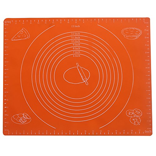 FATCHOI Silicone Baking Mat for Dough Rolling with Measurements (14x17Inch) Non Stick,Non Slip,Pizza,Breads,Lasagna,and other Recipes & Desserts