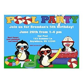Pool Party Kindergeburtstag Einladung