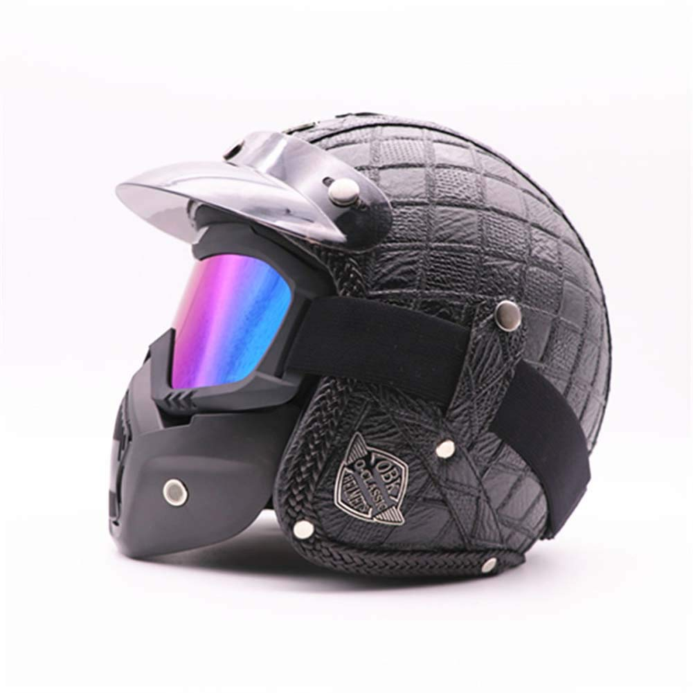 MRXUE Open-Face Anti-Collision Motorbike Helmets Mask, Full Face Helmet Off-Road Anti-Collision Helmet Kit Adult Highway Helmet Road Legal